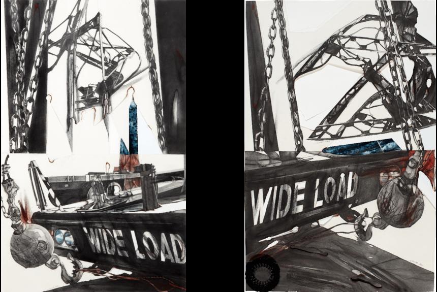 """Wide Load I & II"" Technique: graphite, conte, pastel, photograph, tinted, transparent Plexiglass box, enameled hardware Dimensions: 36 x 163 cm each"
