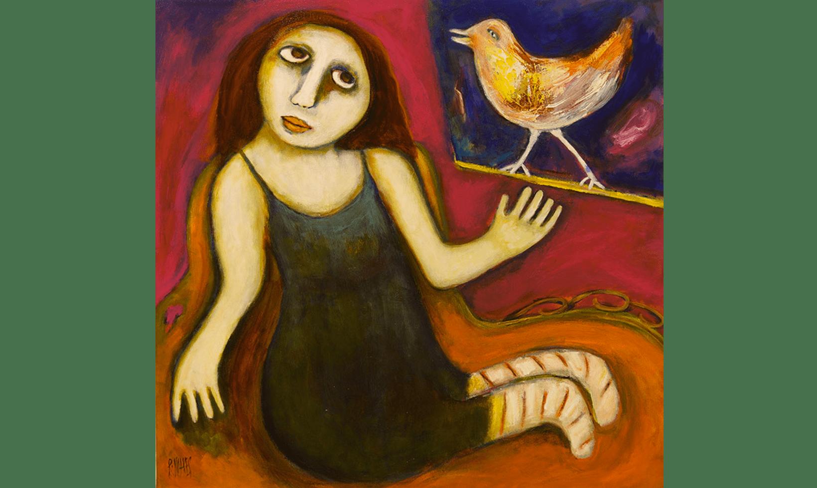 """""""Bird on the Sill"""" Tecnica: Olio e acrilico su tela Dimensioni: 76 x 76 cm"""