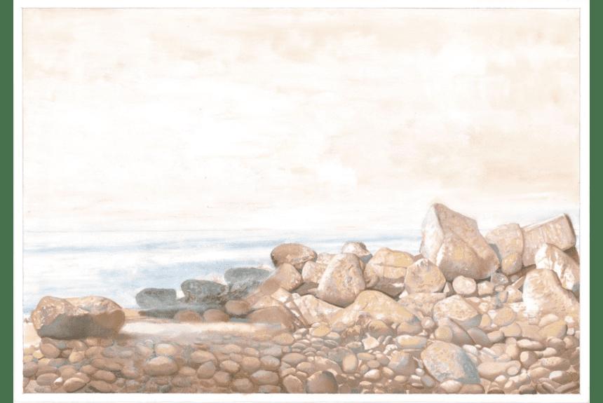 """Famara - Die Steine"" - 70 x 100 cm - 1990-1999 - Gouache-Acryl on Fabriano-Papier"
