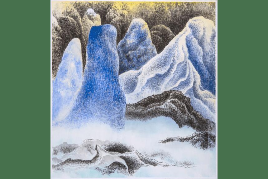 """""""Moonlight"""" Tecnica: Inchiostro e colori su carta di riso Dimensioni: 87 x 81 cm"""