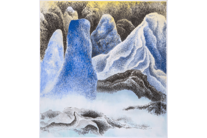 """Moonlight"" technique: Ink color on paper rice Dimension: 87 x 81 cm"