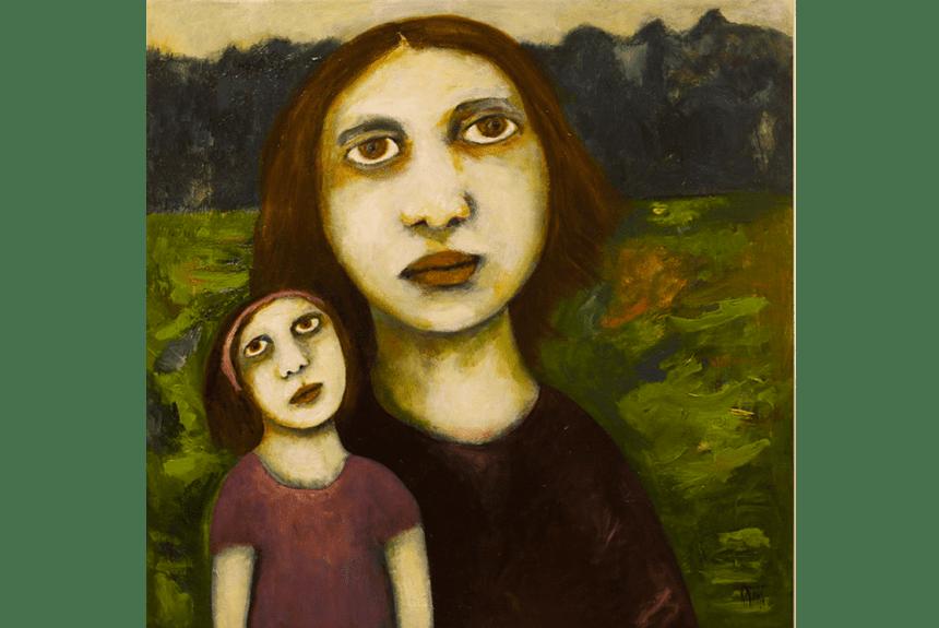 """""""Mother and Child"""" Tecnica: Olio e acrilico su tela Dimensioni: 91 x 91 cm"""