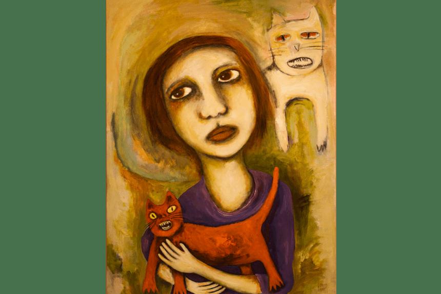 """""""The New Kitten"""" tecnica: Olio e acrilico su tela Dimensioni: 122 x 92 cm"""