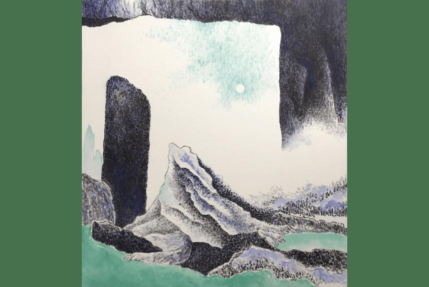 """""""The good old moon"""" Tecnica: Inchiostro e colori su carta di riso Dimensioni: 87 x 81 cm"""