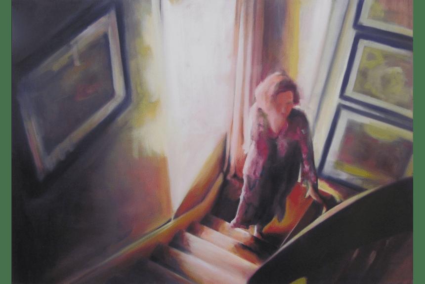"""""""Anne on the stairs"""" Tecnica: Olio su tela Dimensioni: 150 x 99 cm"""