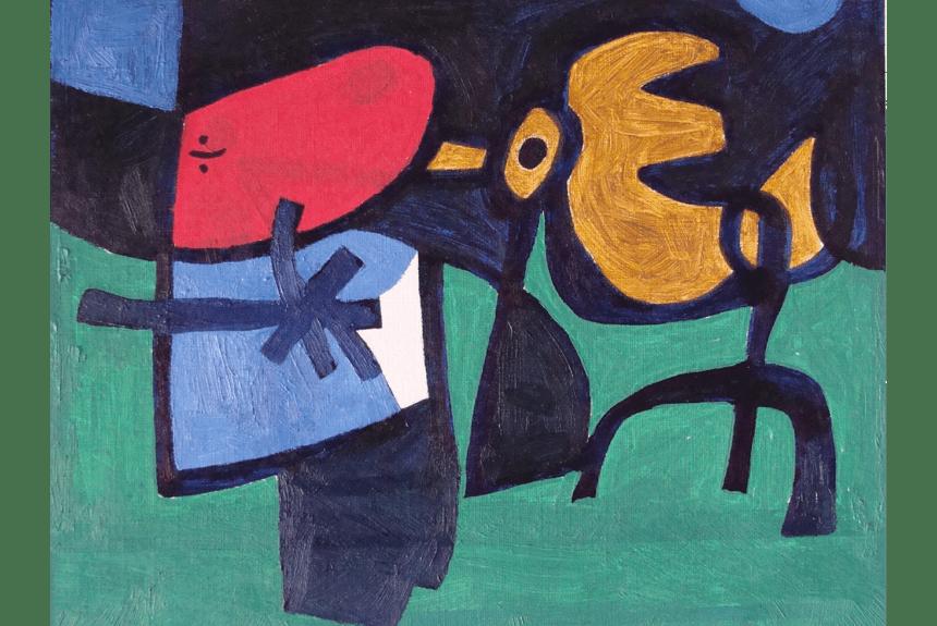 """""""Child and bird"""" Tecnica: Acrilico su carta Dimensioni: 53 x 43 cm"""