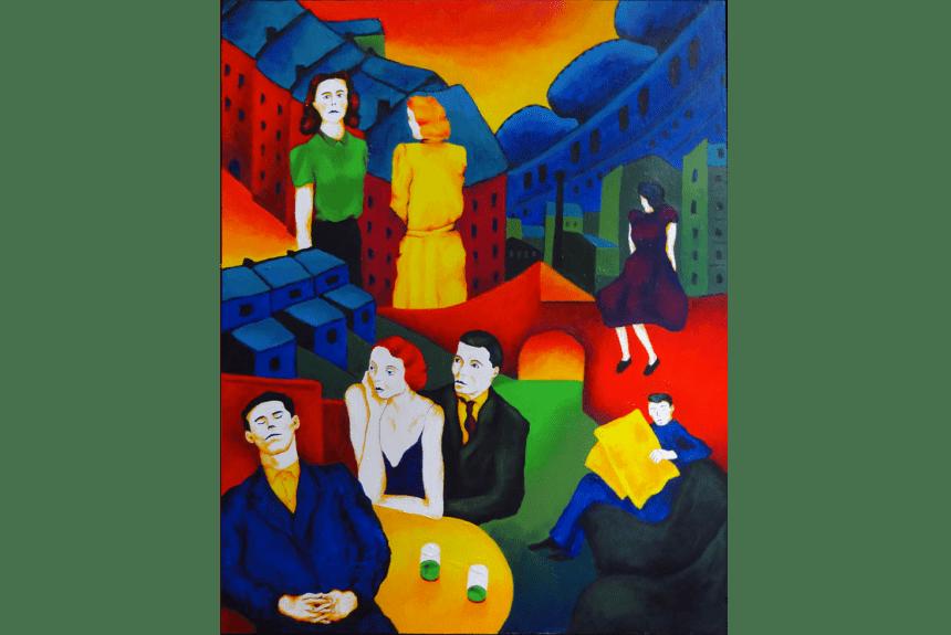 """""""Nothing good happens after midnight"""" Dimensioni: 66 x 83 cm Tecnica: Acrilico su legno"""