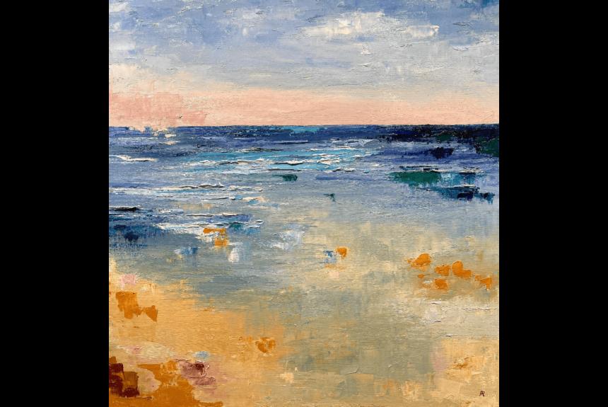 """Ann Palmer """"Cornish Beach 2"""" Tecnica: Olio su Tela Dimensioni: 61 x 61 cm"""