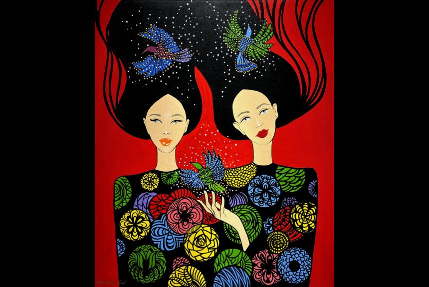 "Vészabó Noémi ""The song of the hummingbird"" Tecnica: Acrilico su tela Dimensioni: 100 x 120 cm"